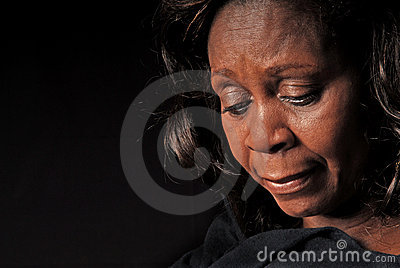 African American Woman Looking Down