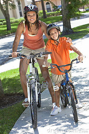 African American Woman Mother Boy Son Riding Bike
