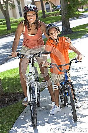 African American Woman Mother Boy Son Riding Bike