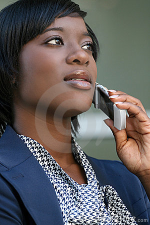 African-American Woman Outdoors on Cell Phone