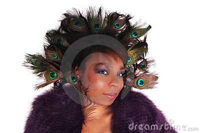African American woman with Peacock feathers