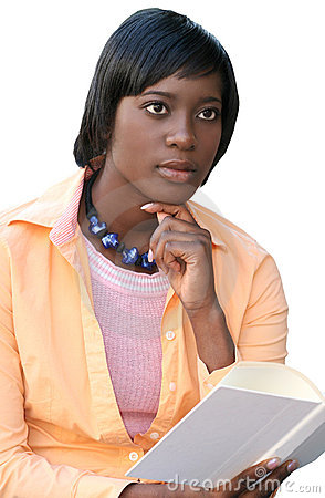 African American Woman Reading a Book, on White