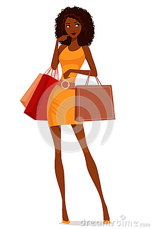 Free African American Woman Shopping Stock Image - 45368161