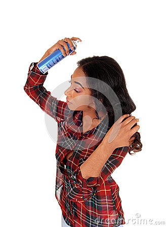 Free African American Woman Using Hair Spray. Stock Photography - 60767462