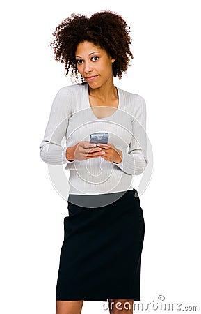 African American woman using PDA
