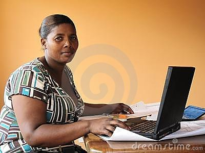 African american woman working with lapt