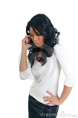 African American Woman worry on the phone