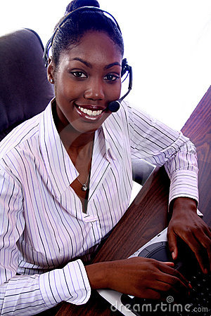 African Amrican Woman With Computer