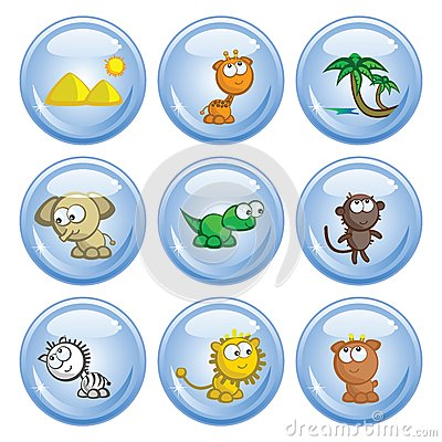 African animals buttons