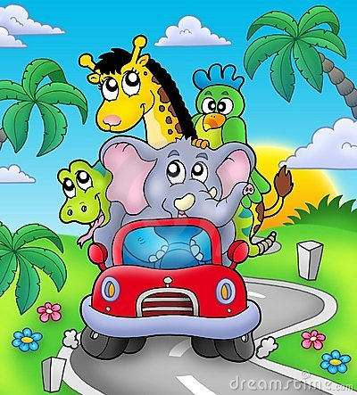 Free African Animals In Car On Road Stock Photos - 12837863