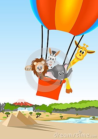 Free African Animals In Hot Air Balloon Stock Photography - 24931742