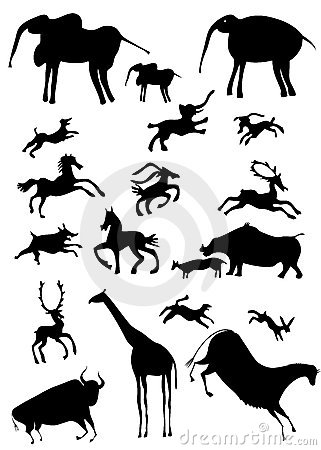African animals looks like cave painting