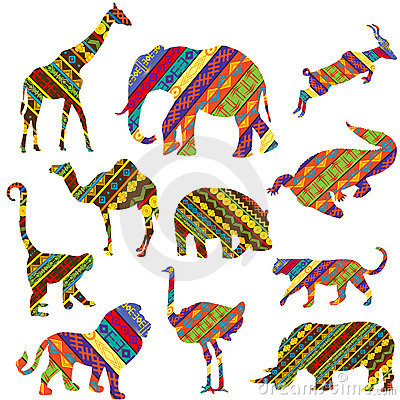 African animals made of ethnic textures
