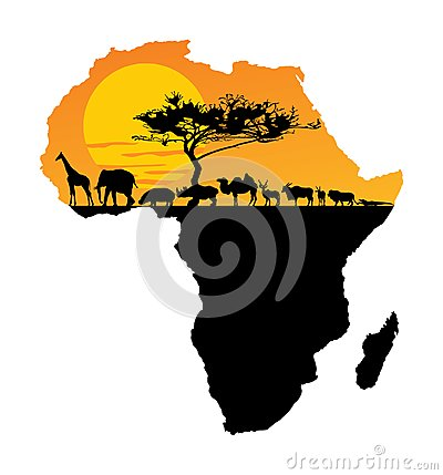 Free African Animals Over Map Of Africa. Safari Sunset. Royalty Free Stock Photos - 115890398