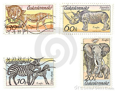 African animals on postage sta
