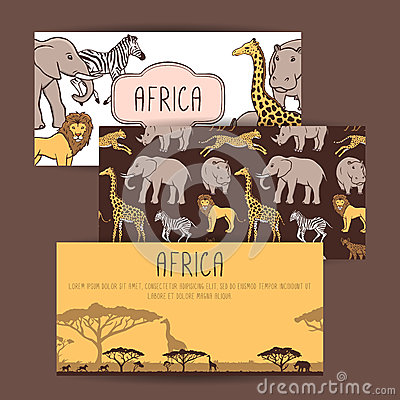 African banners with cute animals