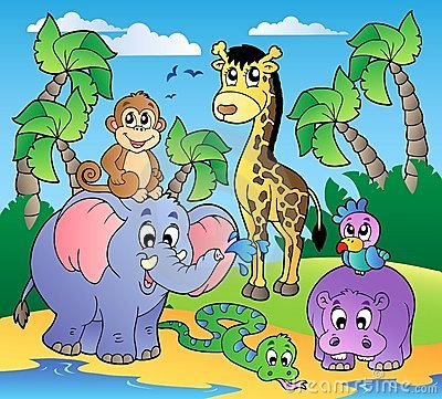 African beach with cute animals