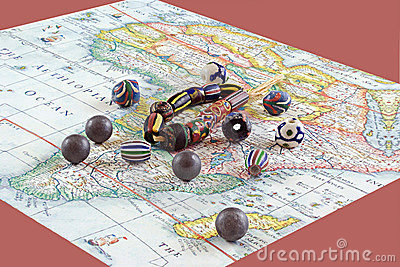 African beads with map
