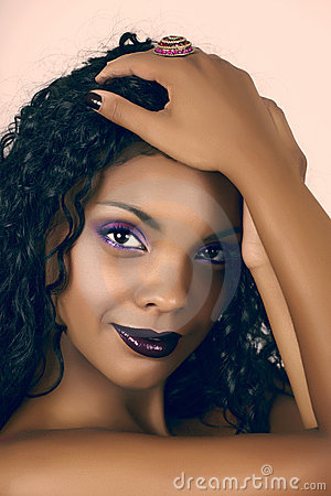 African beautiful woman with curly hair