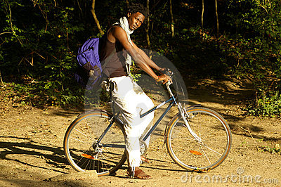 African beauty on a bike