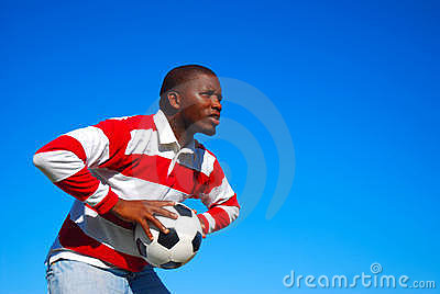African black man with soccer ball