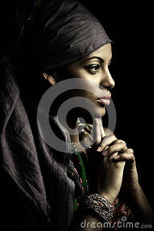 Free African Black Young Woman Beauty Portrait With Turban Studio Sho  Stock Photography - 97939082