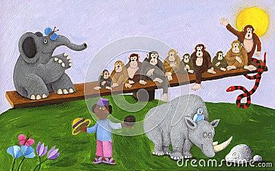 African boy, elephant, monkeys, snake and rhino