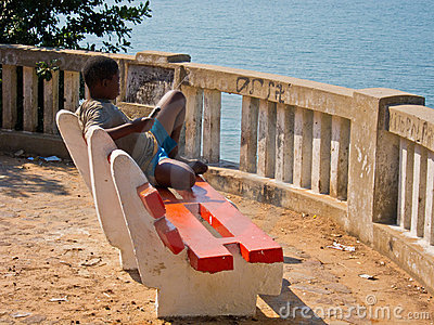 African boy relaxing Editorial Image
