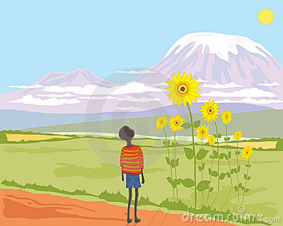 African boy with sunflower