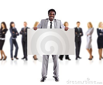 African business man and group holding a banner