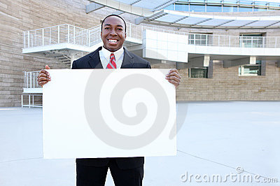 African Business Man Holding Sign