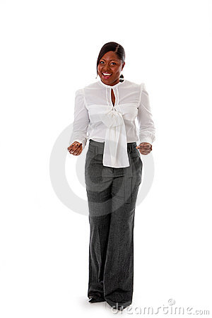 African business woman snapping fingers