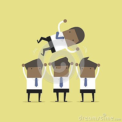 Free African Businessman Being Throwing Up By His Teamwork. Royalty Free Stock Photos - 123699188