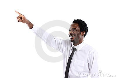 African businessman presenting something