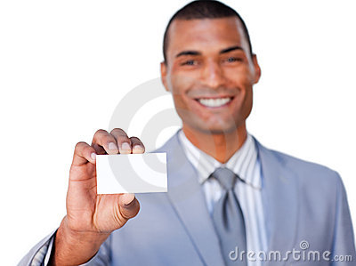 African businessman showing a white card