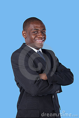African businessman smiling to you