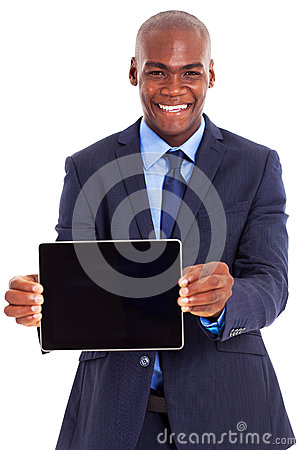 African businessman tablet