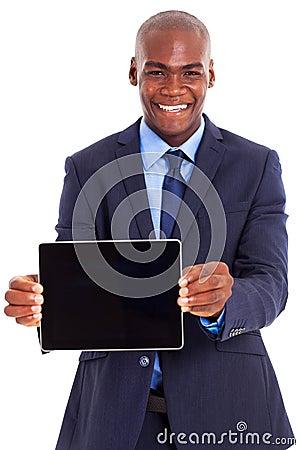 African businessman tablet