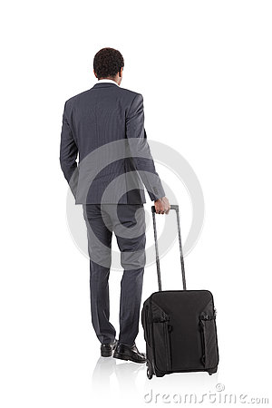 Free African Businessman With Suitcase In White Room Stock Image - 77782031