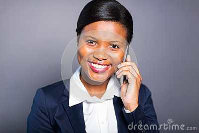 African businesswoman phone