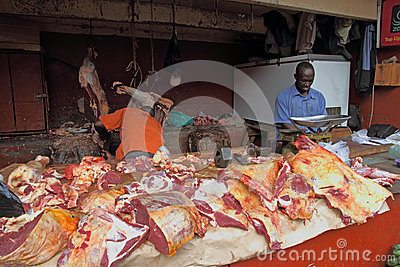 African Butcher Shop Editorial Stock Image