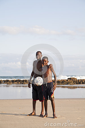African children holding a soccer ball Editorial Photo