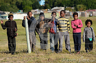 African children in township Editorial Stock Image