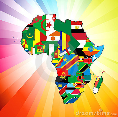 Free African Continent Flag Map Stock Images - 23036564