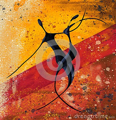 Free African Couple Dance On The Floor Digital Painting Canvas Artwork Royalty Free Stock Images - 125153749