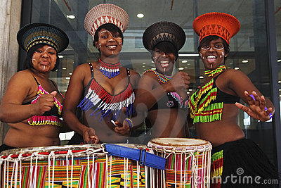 African dancers with drums Editorial Stock Photo