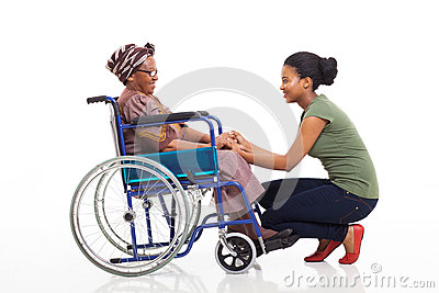 African daughter disabled senior mother