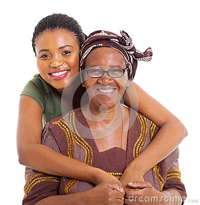 African daughter hugging senior mother