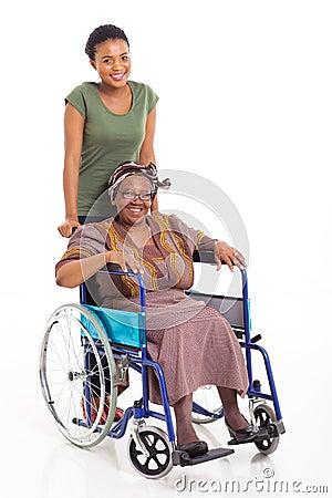 African daughter senior mother