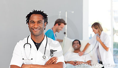 African doctor smiling at the camera